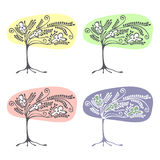 Vector set of hand drawn illustrations, decorative ornamental stylized tree. Graphic illustrations isolated on the white backgroun. D. Decorative artistic Royalty Free Stock Photo