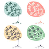 Vector set of hand drawn illustrations, decorative ornamental stylized tree. Graphic illustrations isolated on the white backgroun. D. Decorative artistic Vector Illustration