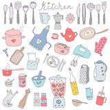 Vector set of hand drawn kitchen themed objects and appliances. Royalty Free Stock Photos