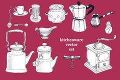 Vector set of hand drawn kitchenware. Vintage illustration Royalty Free Stock Photos