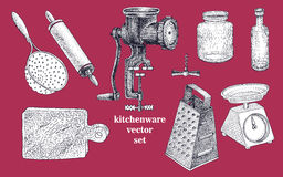 Vector set of hand drawn kitchenware. Vintage illustration Royalty Free Stock Images