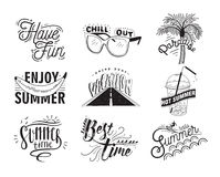 Vector set of hand drawn lettering with inscriptions Enjoy, hello summer, paradise, hot summer, chill out, have fun Stock Image