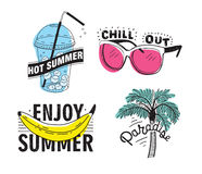 Vector set of hand drawn lettering with inscriptions Enjoy summer, paradise, hot summer, chill out. Typographic Royalty Free Stock Images