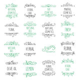 Vector set of hand drawn logos and labels for beauty shops  Stock Photo