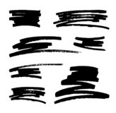Vector set of hand drawn monochrome grunge smears, strokes and stains. stock illustration