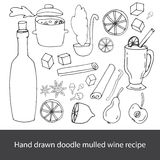 Vector set of  hand drawn mulled wine recipe Stock Images