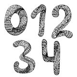Vector set of hand drawn numbers. Doodle ink drawing traced. Abc for your design Stock Images