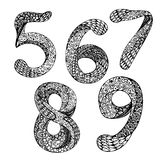 Vector set of hand drawn numbers. Doodle ink drawing traced. Abc for your design Royalty Free Stock Photography