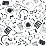 Vector set of hand drawn office tools. Freelance, tools for making business online, entrepreneur. Mock up, top view. Stock Image