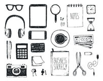 Vector set of hand drawn office tools. Freelance, tools for making business online, entrepreneur. Mock up, top view. Royalty Free Stock Images