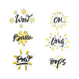 Vector set of hand drawn phrases in brush style - slang expressions. Stock Image