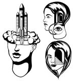 Vector set of  hand drawn  portraits of  girls. Stock Images