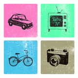 Vector set of hand drawn retro vintage cards with objects. Stock Photos