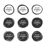 Vector set of 9 hand drawn scribble circles logo Royalty Free Stock Image