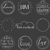 Vector set of 9 hand drawn scribble circles. Logo design elements Royalty Free Stock Photo