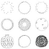 Vector set of 9 hand drawn scribble circles. Logo design elements stock illustration