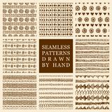 Vector set of hand drawn seamless pattern made with ink. Freehand textures for fabric, polygraphy, web design stock illustration