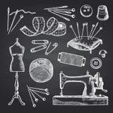 Vector set of hand drawn sewing elements on black chalkboard illustration vector illustration