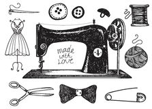 Vector set of hand drawn sewing handcraft vintage elements. Vector set of hand drawn sewing, handcraft vintage elements. Thread for sewing, supplies and Stock Image