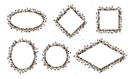 Vector set of hand drawn simple frames made with coffee beans isolated on white background. Ink drawing, stamp  seeds, painting. Perfect for labels, emblems Stock Photos