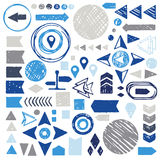 Vector set of hand drawn sketch geometric elements Stock Photos