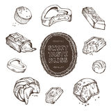 Vector set of hand-drawn sketches bitten chocolates. handmade frame and letters Royalty Free Stock Photography