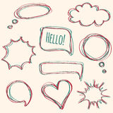 Vector set of hand-drawn speech bubbles Stock Photography