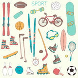 Vector set of hand drawn sport themed doodle illustrations Stock Images