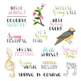 Vector set of hand-drawn spring design elements. Hand-written brush lettering, spring tree branch with flowers and bird stock illustration