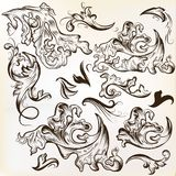 Vector set of hand drawn swirl ornaments for vintage design Stock Images