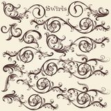 Vector set of hand drawn swirls in vintage style Royalty Free Stock Photography