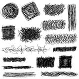 Vector set hand drawn textures, scribbles of pen, hatching. Royalty Free Stock Photo