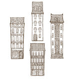 Vector set of hand-drawn tiled houses Royalty Free Stock Image