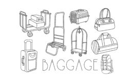 Vector set of hand drawn travel bags and trolleys for luggage. Suitcase, pet container, travel backpack, women handbag stock illustration