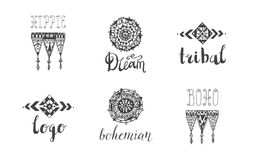 Vector set of hand drawn tribal, boho style logos, signs, icons. Lace, linear art symbols with lettering stock illustration