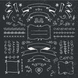 Vector set of hand drawn vintage dividers, frames, flowers, ribbons. Black and white. Stock Photos