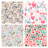 Vector set of hand drawn vintage seamless bicycle Stock Photography