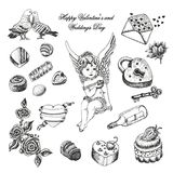 Vector set  of hand drawn vintage valentine's and wedding day collection Stock Images