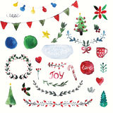 Vector set of hand drawn watercolor Christmas symbols Stock Image