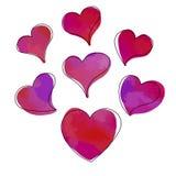 Vector set of hand drawn watercolor hearts royalty free illustration