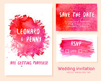 Vector set of hand drawn watercolor wedding invitation. Royalty Free Stock Image