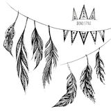 Vector set of hand drawn web design elements in Boho style Royalty Free Stock Image
