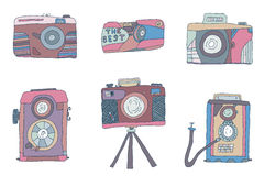 Vector set of hand-drown  cameras photo Royalty Free Stock Photo