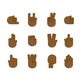 Vector set of hand gestures icons. Sign language. Royalty Free Stock Photo