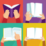 Vector set of hand holding books stock illustration
