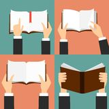 Vector set of hand holding books. Icons in flat retro style royalty free illustration