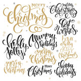 Vector set of hand lettering christmas quotes - merry christmas, holly jolly and others, written in various styles Stock Photos
