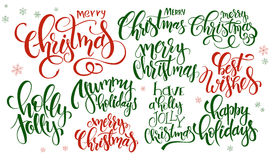 Vector set of hand lettering christmas quotes - merry christmas, holly jolly and others, written in various styles Stock Images
