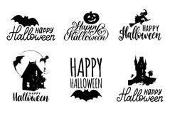 Vector set of hand lettering with Happy Halloween phrase and sketches of horror symbols. All Saints Eve background. Vector set of hand lettering with Happy Royalty Free Stock Photos