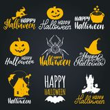 Vector set of hand lettering with Happy Halloween phrase and sketches of horror symbols. All Saints Eve background. Stock Images